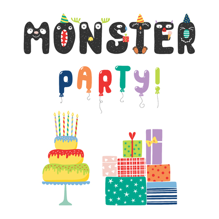 Hand drawn cute funny Monster party quote with letters with faces in party hats, balloon letters. Isolated objects on white background. Vector illustration. Design concept for children, birthday.