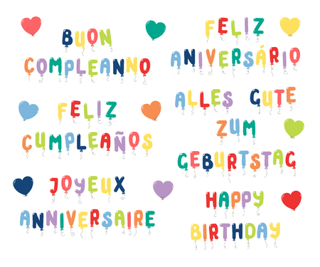 Set of Happy Birthday quotes made of balloons in English, Spanish, Italian, Portuguese, French, German. Isolated objects on white background. Vector illustration. Design concept for kids, celebration. Çizim