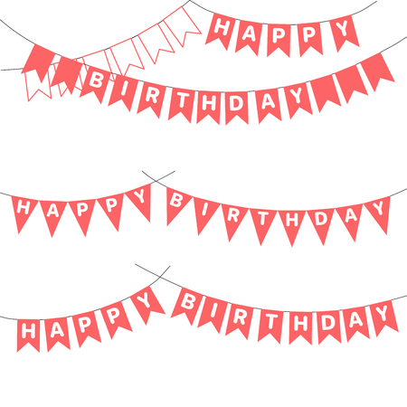 Set of hand drawn vector illustrations with bunting, Happy Birthday letters written on the flags. Isolated objects on white background. Design concept for children, birthday celebration.