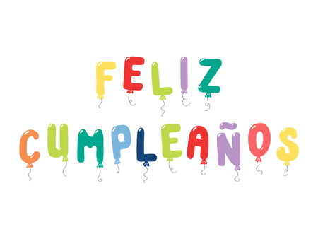 Hand drawn vector illustration with balloons in shape of letters spelling Feliz Cumpleanos (Happy Birthday in Spanish). Isolated objects on white background. Design concept for children, celebration.