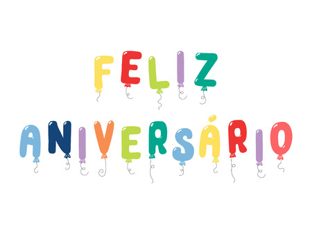 Hand drawn vector illustration with balloons in shape of letters spelling Feliz aniversario (Happy Birthday in Portuguese). Isolated objects on white background. Design concept for kids, celebration.  イラスト・ベクター素材