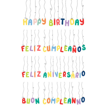 Set of Happy Birthday quotes made of hanging balloons, in English, Spanish, Italian, Portuguese. Isolated objects on white background. Vector illustration. Design concept for kids, celebration. Illustration