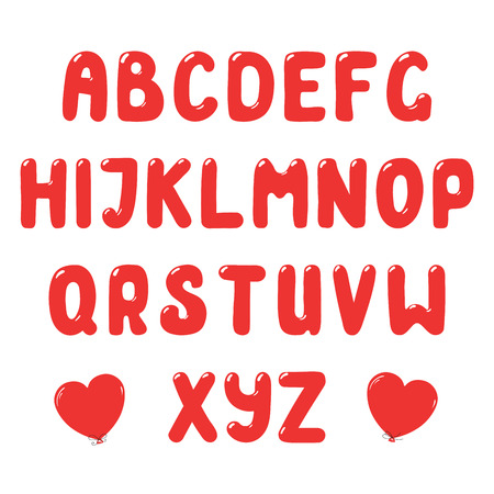 Hand drawn cute and bright roman alphabet. Make your own festive lettering. Isolated letters on white background. Vector illustration.