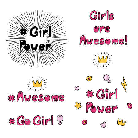 Set of hand drawn quotes about girl power, feminism, with sun rays. Vector illustration. 向量圖像