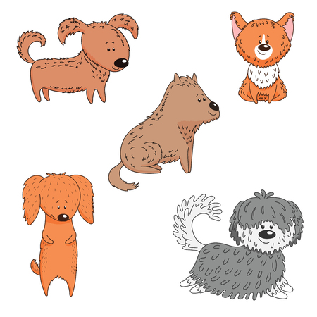 Hand drawn vector illustration with different cute funny cartoon dogs. . Isolated objects on white background. Design concept for children, pets, domestic animals.