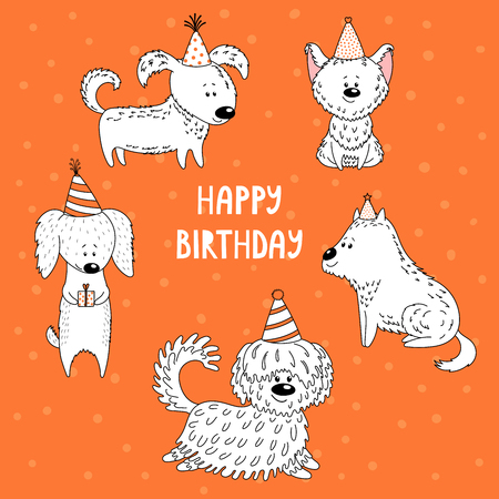 Hand drawn vector illustration with different cute funny cartoon dogs in party hats, text Happy Birthday. Illustration