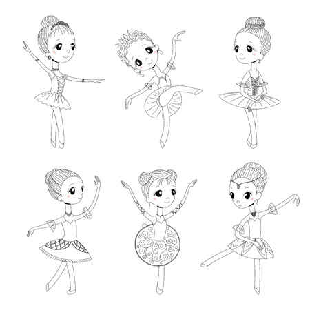Hand drawn black and white vector illustration of cute little dancing ballerina girls in different poses . Isolated objects. Design concept for children coloring pages.