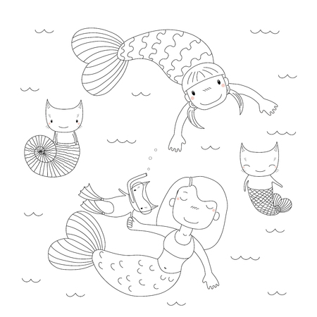 Isolated objects. Design concept for children coloring pages.