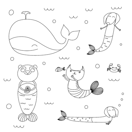 Hand drawn black and white vector illustration of cute whale, mermaid cat, dachshunds, panda, fish, crab, swimming in the sea. Isolated objects. Design concept for children coloring pages.