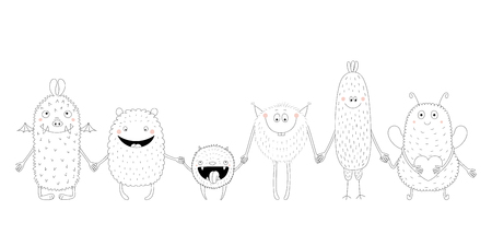 Hand drawn black and white vector illustration of of cute funny monsters smiling and holding hands. Isolated objects. Design concept for children coloring pages.