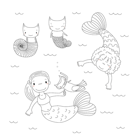 Hand drawn black and white vector illustration of cute little mermaid girls, cat in swim fins and scuba mask, in a sea shell, with a fish tail. Isolated objects. Design concept for kids coloring pages Illustration