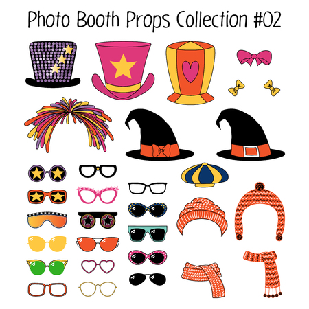 Set of hand drawn cartoon photo booth props with funky, witch, knitted hats, mufflers, ribbons, different glasses. Isolated objects on white background. Vector illustration. Design elements. Ilustração