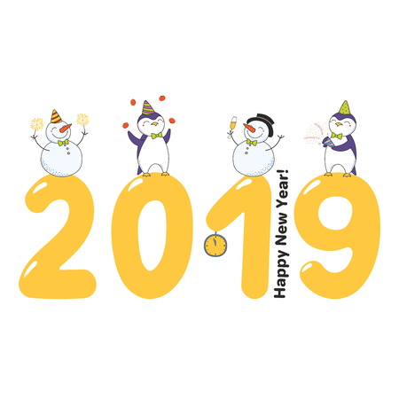 Hand drawn Happy New Year 2019 greeting card, banner template with cute funny cartoon penguins, snowmen on big numbers, celebrating, text. Isolated objects. Vector illustration. Design concept. Illustration