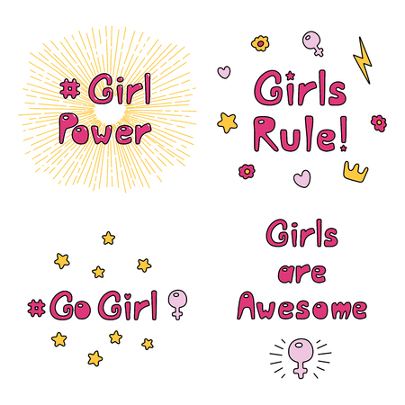 Set of hand drawn quotes about girl power, feminism, with sun rays, flowers, hearts, stars, lightning, crown, Venus mirror. Isolated objects on white. Vector illustration. Design concept women day.