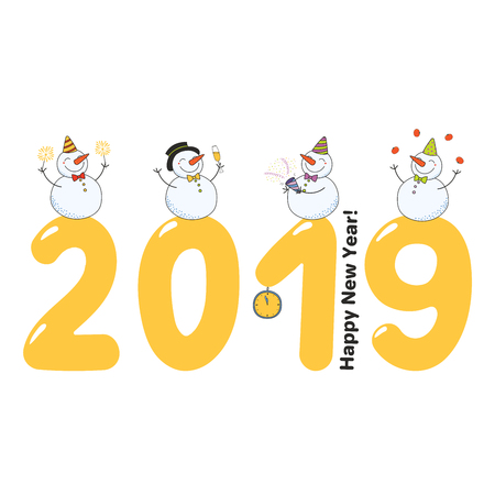 Hand drawn Happy New Year 2019 greeting card, banner template with cute funny cartoon snowmen on big numbers, celebrating, text. Isolated objects. Vector illustration. Design concept.