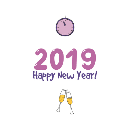 Hand drawn Happy New Year 2019 greeting card, banner template with clinking champagne glasses, clock, typography. Isolated objects. Vector illustration. Design concept for party, celebration. Archivio Fotografico - 96520594