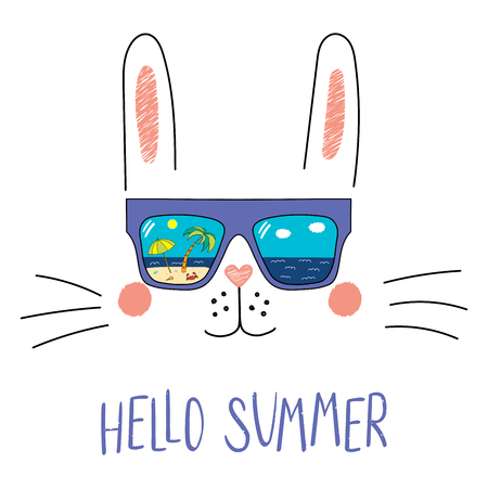 Hand drawn portrait of a cute cartoon funny bunny in sunglasses with beach scene reflection, text Hello Summer. Isolated objects on white background. Vector illustration. Design change of seasons. Illustration