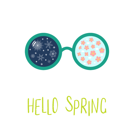 Hand drawn vector illustration of sunglasses with snowflakes, cherry blossoms reflected inside the lenses, text Hello Spring. Isolated objects on white background. Design concept for change of seasons
