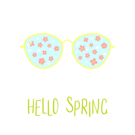 Hand drawn vector illustration of sunglasses with falling cherry blossoms reflected inside the lenses, text Hello Spring. Isolated objects on white background. Design concept for change of seasons.