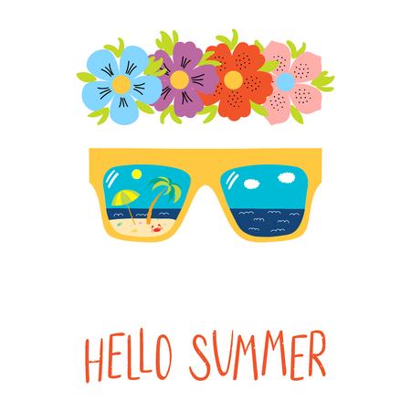 Bergeben Sie gezogene Vektorillustration einer Blumenkette, die Sonnenbrille mit Strandszene, die innerhalb der Linsen, Text hallo Sommer reflektiert wird. Isolierte Objekte auf weißem Hintergrund. Design-Konzept für den Wechsel der Jahreszeiten Standard-Bild - 96313302