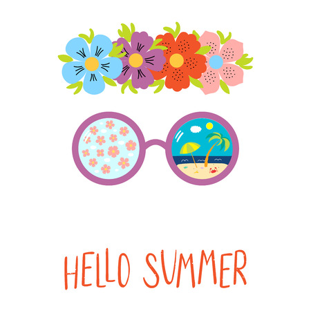 Hand drawn vector illustration of flower chain, sunglasses with cherry blossoms, beach scene reflection, text Hello Summer. Isolated objects on white background. Design concept for change of seasons Standard-Bild - 96313303