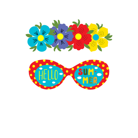 Hand drawn vector illustration of a flower chain, sunglasses with clouds in the sky reflected in the lenses, text Hello Summer. Isolated objects on white background. Design concept for seasons change Çizim