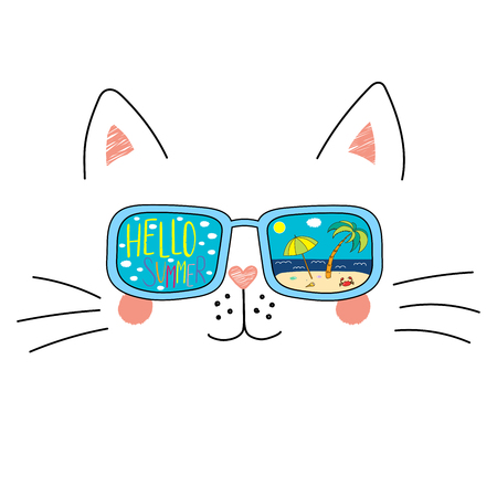 Hand drawn portrait of a cute cartoon funny cat in sunglasses with beach scene reflection, text Hello Summer. Isolated objects on white background. Vector illustration. Design change of seasons.