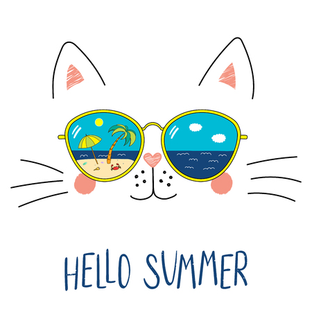 Hand drawn portrait of a cute cartoon funny cat in sunglasses with beach scene reflection, text Hello Summer. Isolated objects on white background. Vector illustration. Design change of seasons. Stok Fotoğraf - 96316258