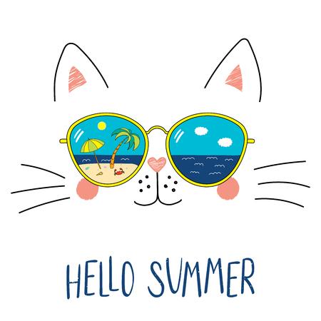 Ręcznie rysowane portret ładny kot śmieszne kreskówki w okularach przeciwsłonecznych z odbicie sceny na plaży, tekst Witaj lato. Na białym tle obiektów na białym tle. Ilustracji wektorowych. Zmiana projektu pór roku.