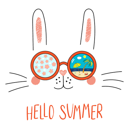 Hand drawn portrait of a funny bunny in sunglasses with cherry blossoms, beach scene reflection, text Hello Summer. Isolated objects on white background. Vector illustration. Design change of seasons. Standard-Bild - 96316257