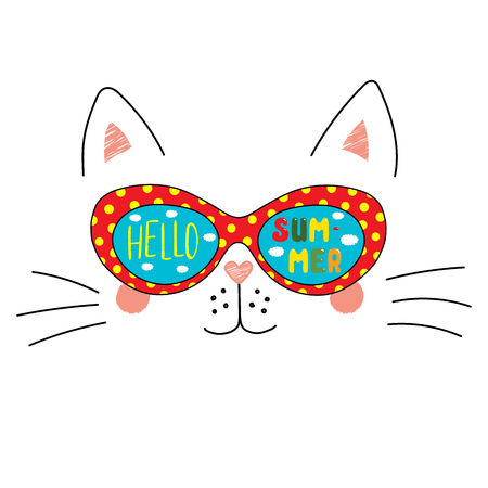 Hand drawn portrait of a cute cartoon funny cat in sunglasses with clouds in the sky reflection, text Hello Summer. Isolated objects on white background. Vector illustration. Design change of seasons.