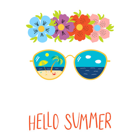 Hand drawn vector illustration of a flower chain, sunglasses with beach scene reflected inside the lenses, text Hello Summer. Isolated objects on white background. Design concept for change of seasons