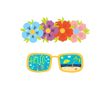 Hand drawn vector illustration of a flower chain, sunglasses with beach scene reflected inside the lenses, text Hello Summer. Isolated objects on white background. Design concept for change of seasons. Illustration