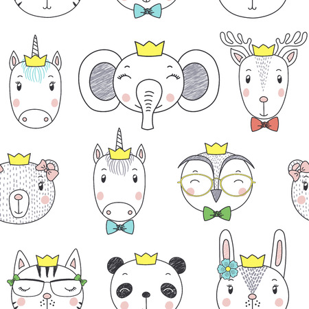 Hand drawn seamless vector pattern with cute animal girl faces in crowns, on a white background. Design concept for children, textile print, wallpaper, wrapping paper.