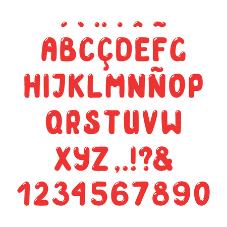 Hand drawn cute red roman alphabet with numbers and punctuation marks.