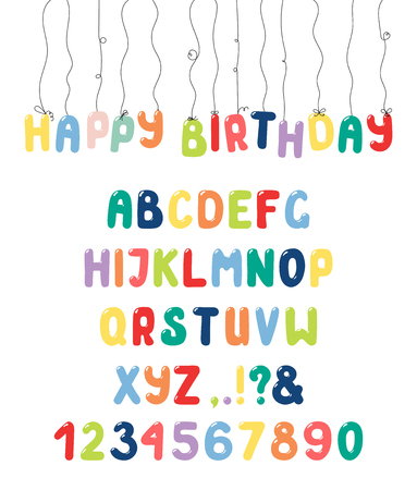 Hand drawn cute and colorful roman alphabet with numbers and punctuation marks.
