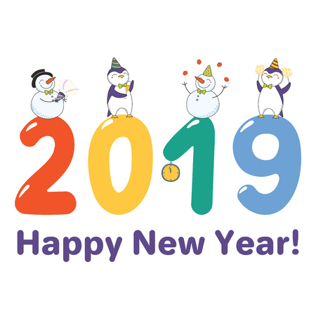 New Year 2019 greeting card template with cute funny cartoon penguins and snowmen. Illustration