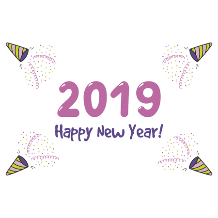 Hand drawn Happy New Year 2019 greeting card, banner template with party poppers, serpentine streamers, confetti, typography. Isolated objects. Vector illustration. Design concept party, celebration. Illustration
