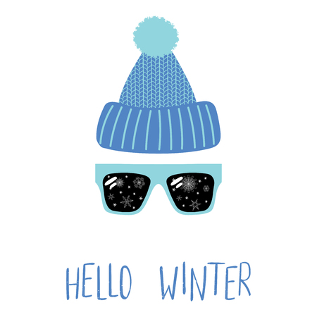 Hand drawn vector illustration of a knitted hat, sunglasses with snowflakes reflected inside the lenses, text Hello Winter. Isolated objects on white background. Design concept for change of seasons.