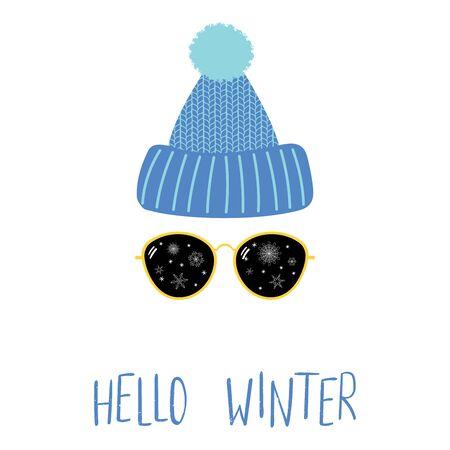 ニット帽子、雪片とテキストこんにちは冬のサングラスのイラスト。  イラスト・ベクター素材
