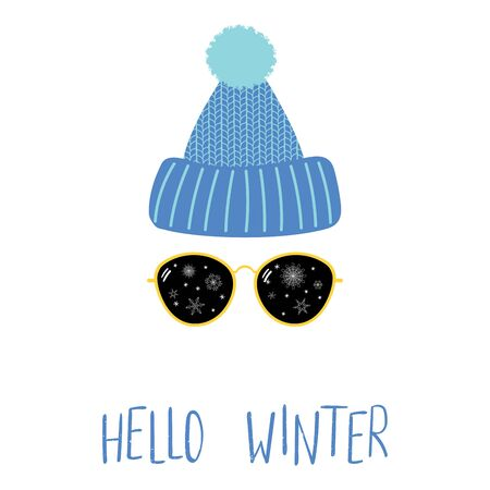 Illustration of knitted hat, sunglasses with snowflakes and text Hello Winter.