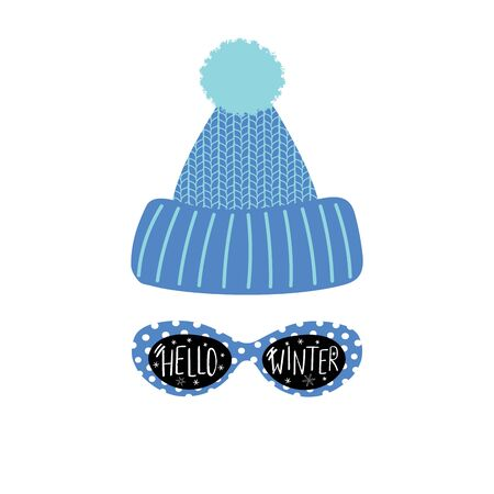Illustration of a knitted hat and sunglasses with text Hello Winter. Иллюстрация