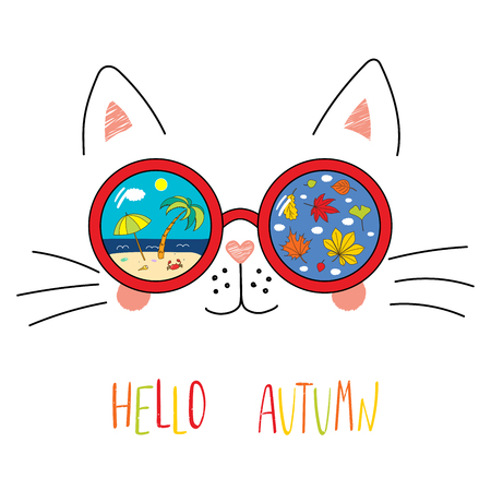 Hand drawn portrait of a cute cartoon funny cat in sunglasses with beach scene, leaves reflection, text Hello Autumn. Isolated objects on white background. Vector illustration. Design seasons change. Standard-Bild - 96537693