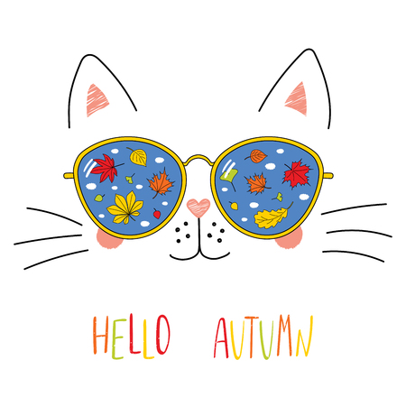 Hand drawn portrait of a cute cartoon funny cat in sunglasses with falling leaves reflection, text Hello Autumn. Isolated objects on white background. Vector illustration. Design change of seasons.