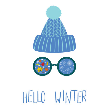 Hand drawn vector illustration of a knitted hat, sunglasses with snowflakes, falling leaves reflected, text Hello Winter. Isolated objects on white background. Design concept for change of seasons.