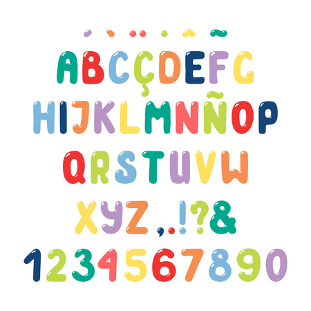 Hand drawn cute roman alphabet with numbers and punctuation marks