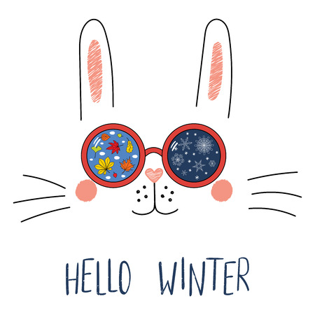 Hand drawn portrait of a cute funny bunny in sunglasses with snowflakes Illusztráció