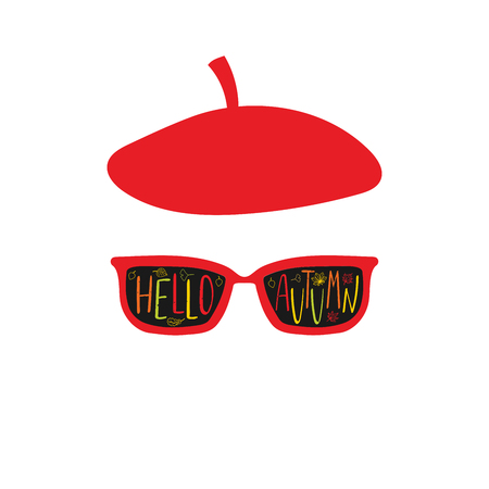 Hand drawn vector illustration of a beret and sunglasses Illustration