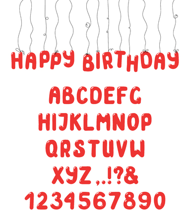 Hand drawn cute and bright roman alphabet with numbers and punctuation marks.