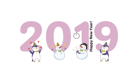 Hand drawn New Year 2019 greeting card Illustration